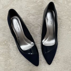 Comfort Plus - Suede and Leather Navy Pumps